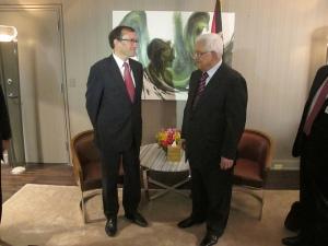 Le ministre norvégien des affaires étrangères, Espen Barth-Eide, et le Président Mahmoud Abbas