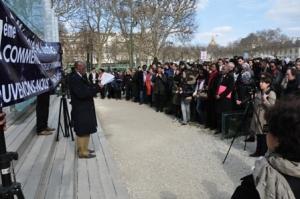 Marcel Kabanda, président IBUKA-France, lors de la 19ème commémoration du génocide des Tutsis du Rwanda, Paris
